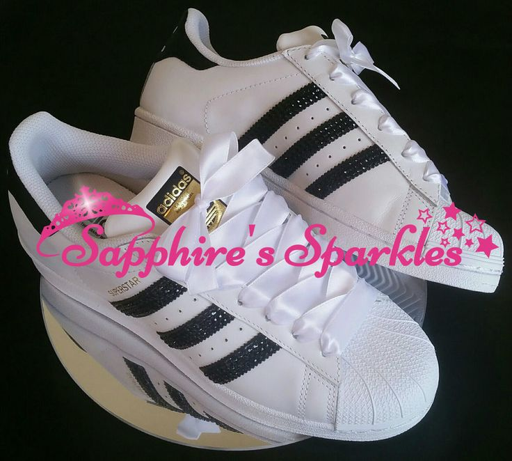 Adult Customised Crystal White And Black Adidas Superstar Size 3 4 5 6 7 8 in Kleidung & Accessoires, Damenschuhe, Turnschuhe & Sneaker | eBay