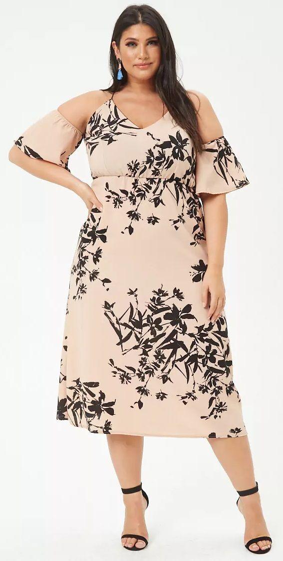 dac2f67d0ebbcc Plus Size Floral Open-Shoulder Maxi Dress   Plus Size Fashion ...