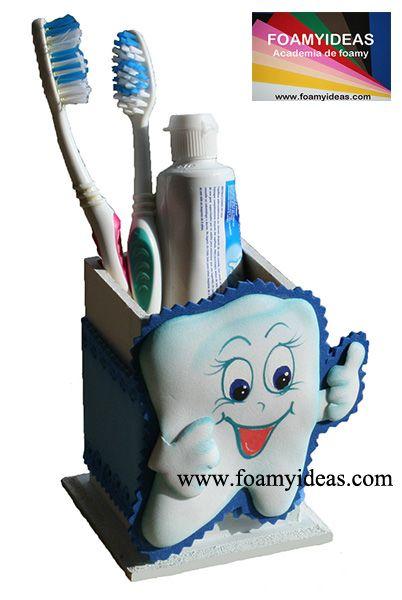 Toothbrush holder. Porta cepillo de dientes. Molde: http://www.foamyideas.com/moldes/bano-y-cocina/porta-cepillo-de-dientes/details