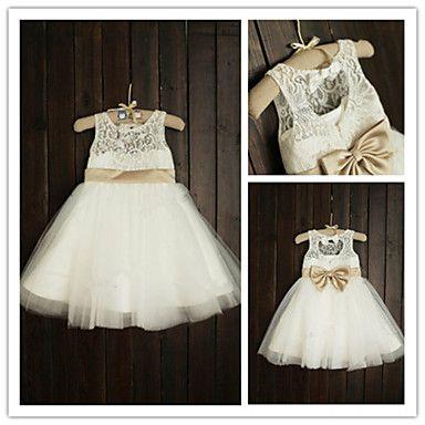 Flower Girl Dress Tea-length Lace/Tulle A-line Sleeveless Dress – USD $ 49.99