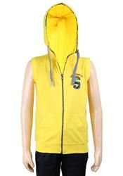 """Yellow cotton hooded t-shirt for the """"yo"""" look at any birthday party by Ruff.Product Code- G3-BTS0708"""