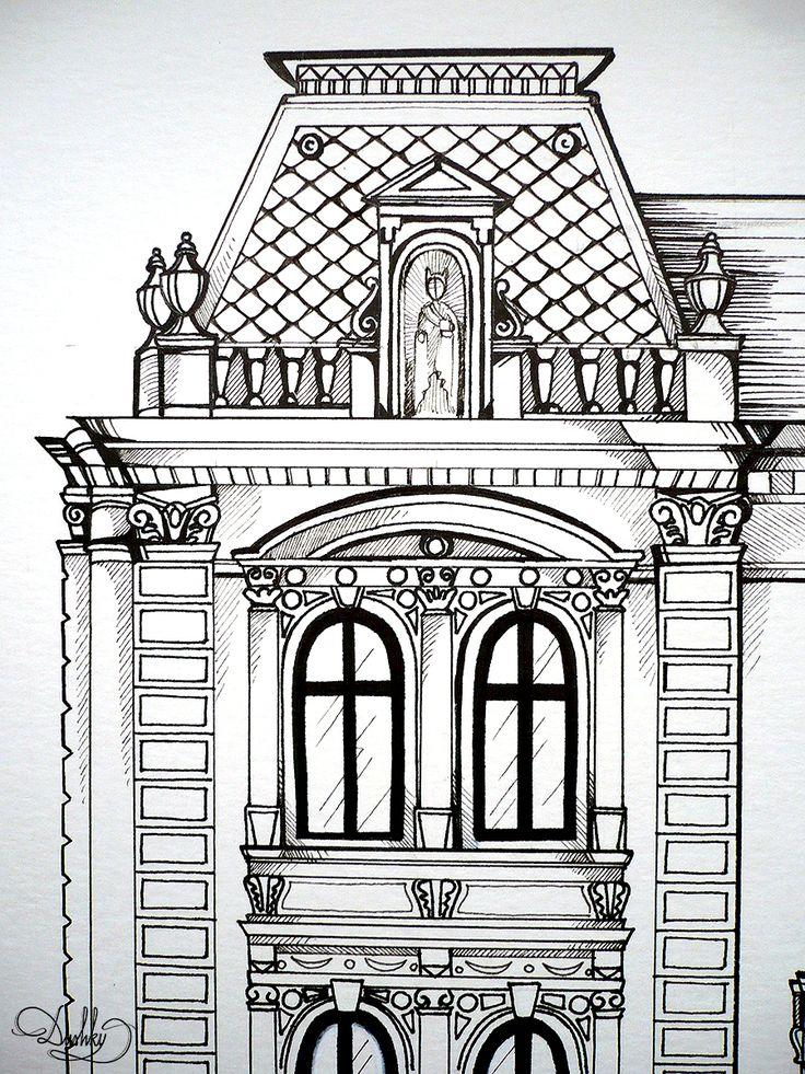illustration by #dushky | #art #illustration #drawing #painting #geometric #watercolour #house #architecture #simetry #hot #heritageoftimisoara #timisoara