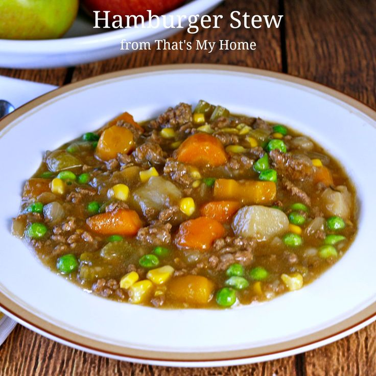 Hamburger Stew - This hearty and delicious beef stew is made with ground beef, carrots, potatoes, celery, onions, corn and peas. AKA Poor Man's Stew