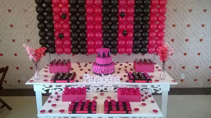 decoraç u00e3o preto e pink, katy perry,menina,15 anos,debutante,inspiraç u00e3o,provençal,clean,tela de  # Decoração De Zebra Para Aniversario