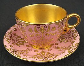 Coalport......♥♥... exceptional Pink and Gold Gilt teacup and saucer, late 19th century