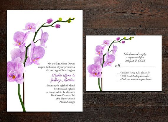 Orchid Wedding Invitation Set by ruffledskirtdesigns on Etsy, $90.00