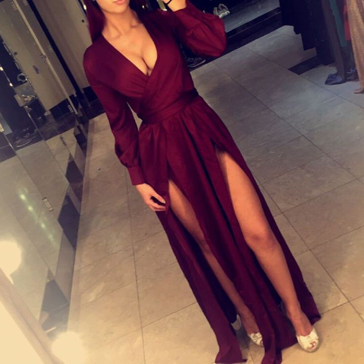 Deep V-neck prom dress ,Burgundy prom dress ,Evening Dresses 2016, Long Sleeves…