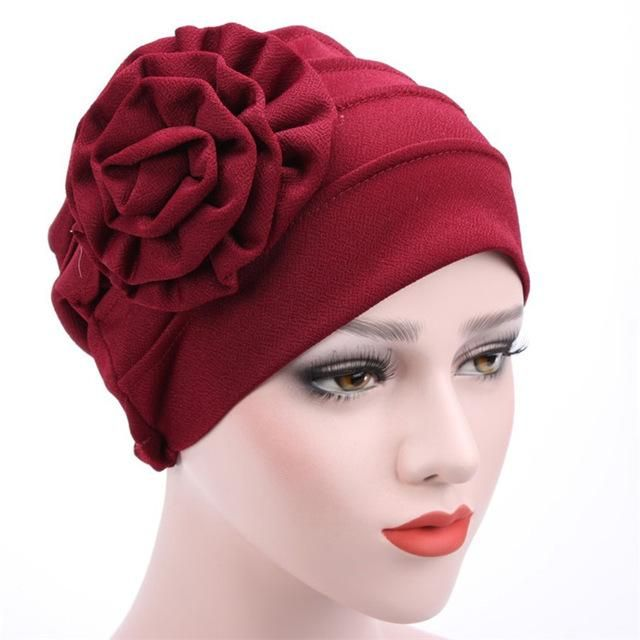Women Large Flower Headscarf Beanie Scarf Turban Wrap Western Style Ruffle  Cancer Chemo Hat Chemotherapy Caps Hedging Cap WH265 b037bf13ba42