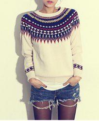 Trendy Style Round Neck Geometric Pattern Long Sleeve Women's Sweater