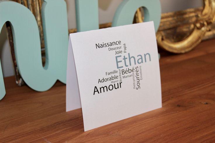 Faire part naissance carte remerciements baptême invitation carrée 100% personnalisable minimaliste texte bleu : Faire-part par perles-papiers-ciseaux