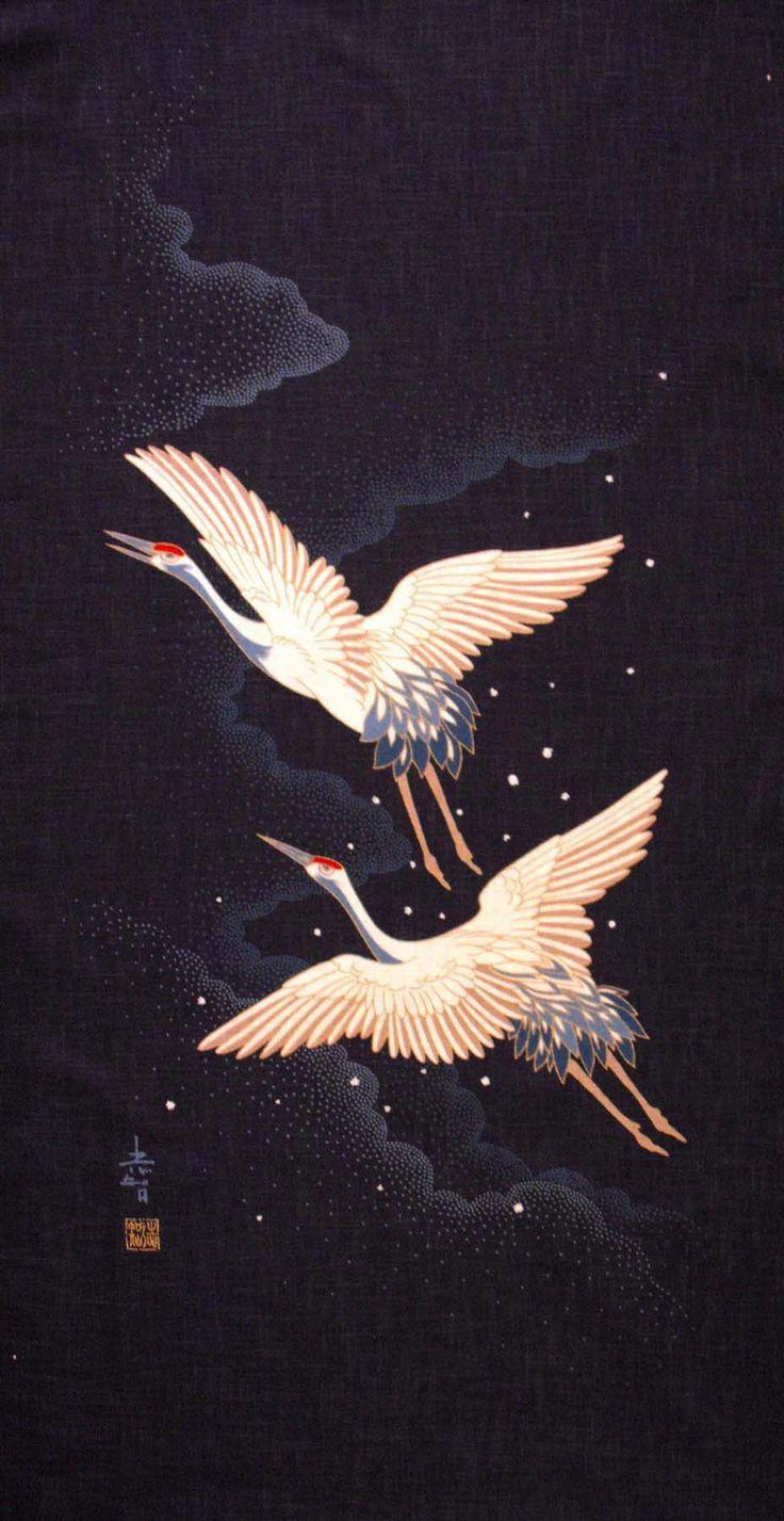 pictures of japanese cranes | Japanese Crane fabric with orange moon on indigo background with ...