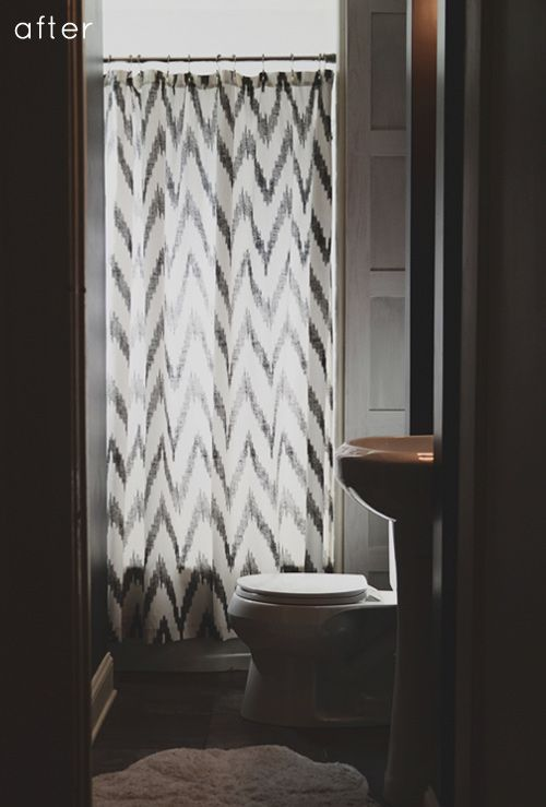 Chevron Shower Curtain Via Design Sponge Bathroom Renovation Designs Shower Curtain Small Bathroom Bathroom Design Inspiration