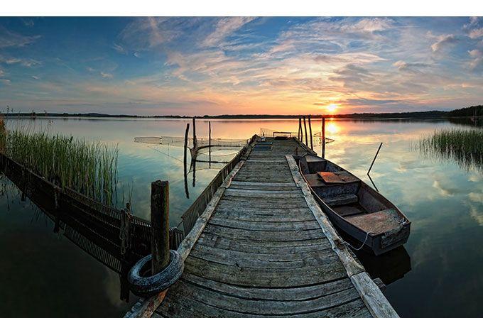 Fototapete Sunset at the lake
