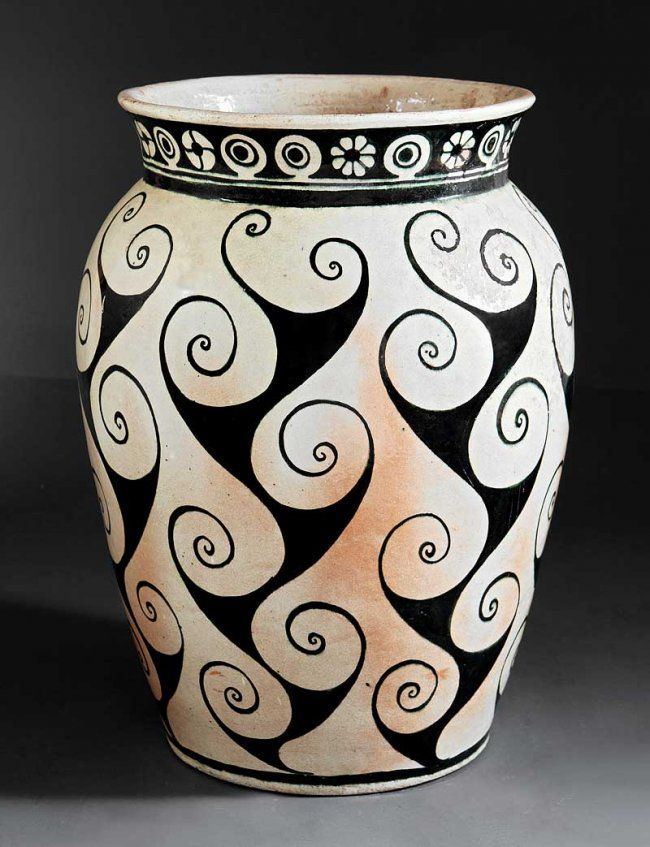 c.1940 - Shearwater Pottery - Monumental Pottery Vase Thrown by Peter Anderson Then Decorated by Mac Anderson - 26 3/4""