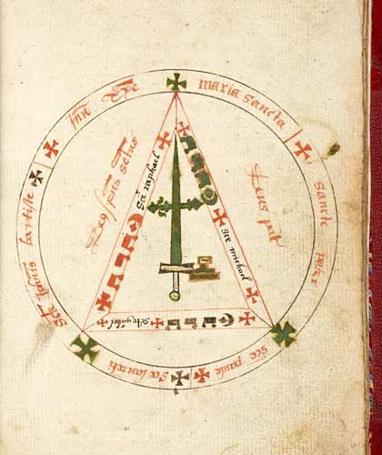"""""""The Book of Black Magic records spells that allow the magician to converse with spirits, find treasure and summon the 'Queen of the Pharies'. The Compendium is much more streamlined and contains a single set of instructions to summon eight evil spirits.  """"The Book of Black Magic was sometimes circulated under the name of Roger Bacon, the famous English philosopher. The Compendium was attributed to the astrologer Michael Scot, whose infamy as a supposed magician was noted even by the famous…"""