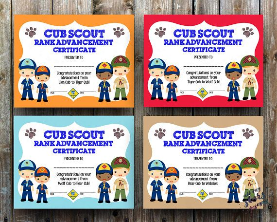˚✰˚ .★* Cub Scout Rank Advancement Certificate and Award Pack ˚✰˚ .★* NOTE: This listing is for digital files only. No physical items will be printed or mailed to you. ✦✦WHATS INCLUDED✦✦ ==================================== 8 high resolution 8.5x11 files in both JPG and PDF format