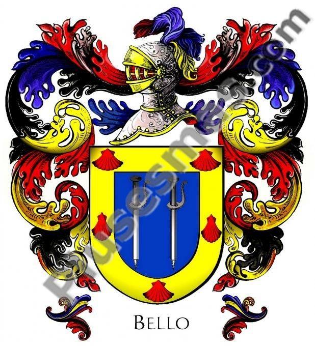 Escudo del apellido Bello (Con cresta)