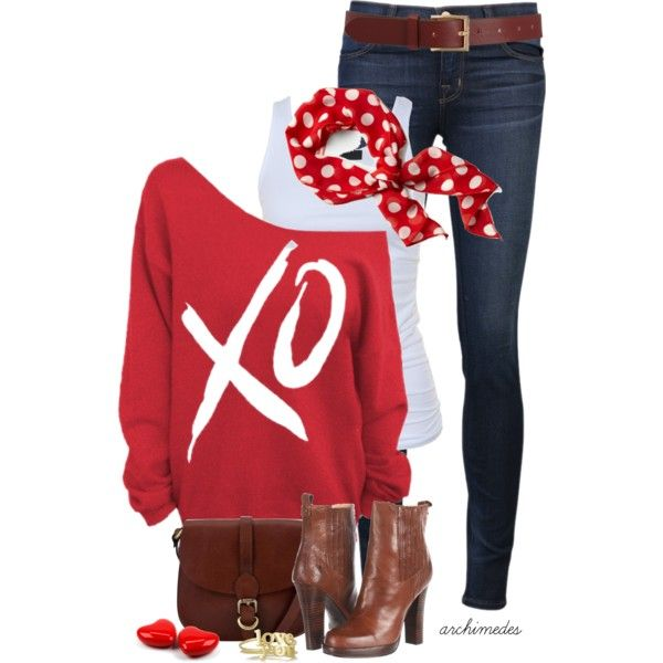 """Love You"" by archimedes16 on Polyvore...Love this Cute, Comfy, Cozy Outfit! The Stylish Sweatshirt is the coolest thing right now and I love how it goes off the shoulder making it very flirty & fun! The scarf really kicks it up a notch, plus it reminds me of Minnie Mouse and that Minnie Mouse sure was a Style Icon!"