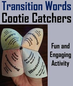 This transition words cootie catcher is a great way for students to have fun while learning about the different types of transition words to use within sentences and paragraphs. How to Play and Assembly Instructions are included.This activity has students reading 8 short passages to each other and then determining which transitional word best fits.========================================================Customer Tips: How to get TPT credit to use on future purchases:Go to yo...