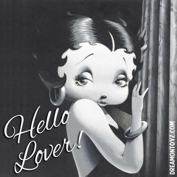 Hello Lover! For more Betty Boop graphics & greetings: http://bettybooppicturesarchive.blogspot.com/ ~And on Facebook~ https://www.facebook.com/bettybooppictures Stylized black and white Betty Boop