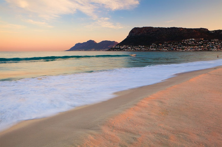 Clovelly Corner, Fish Hoek Area  Pastel colors fill the sky on a perfect winter's day on the False Bay side of the Cape Peninsula