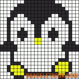 Pinguin Denk eraan : ook de witte strijkparels binnen de zwarte omtrek  moeten gelegd worden.