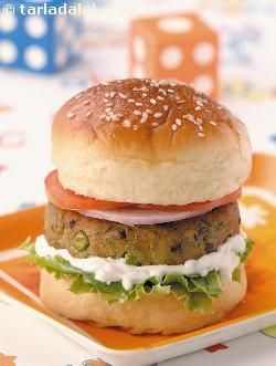 Paneer and green peas burger, here's a healthy alternative to kids' favourite junk food – a one meal wonder that combines peas, paneer, mayonnaise, onions, tomatoes and lettuce.