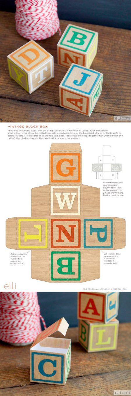 DIY vintage alphabet blocks printable - for play, decoration or as gift boxes.