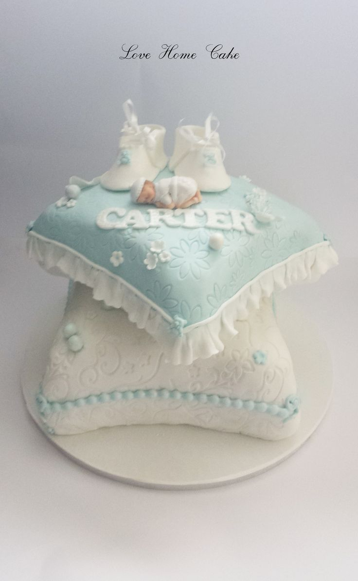 #2_tier_pillow_christening_cake_for_a_boy