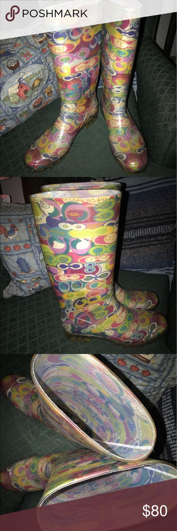 """Authentic Coach Poppy """"POP C"""" water/rain boots sz9 Awesome condition! These Authentic Coach Poppy """"POP C"""" tall water/rain boots, Ladies size 9 are ready for a new owner! Matching Bag & clutch/case are sold separately! Bundle to save! Coach Shoes Winter & Rain Boots"""