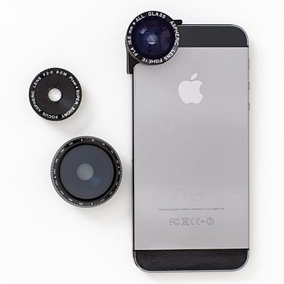 Shutterbugs will flip for a set of three slide-on photo lenses (macro, fisheye, and polarized) made to enhance iPhone picture taking.