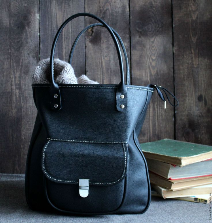 Купить Сумка кожаная LOLa - черный, однотонный, черная сумка, большая сумка