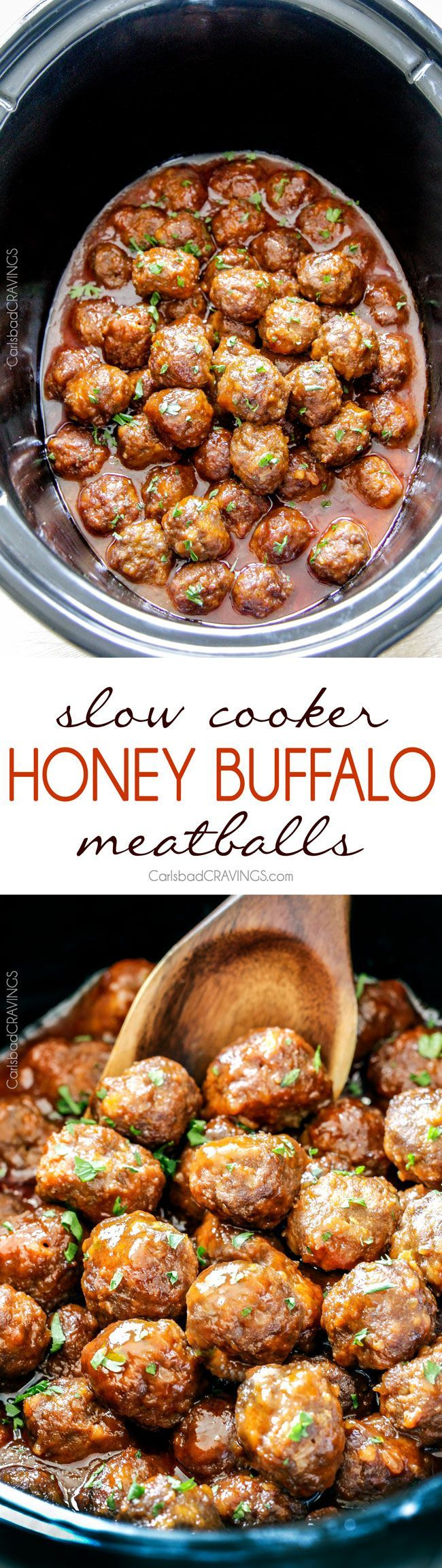 Tender juicy slow cooker Honey Buffalo Meatballs simmered in the most tantalizing sweet heat sauce that everyone goes crazy for! Perfect appetizer or delicious, easy meal with rice!: