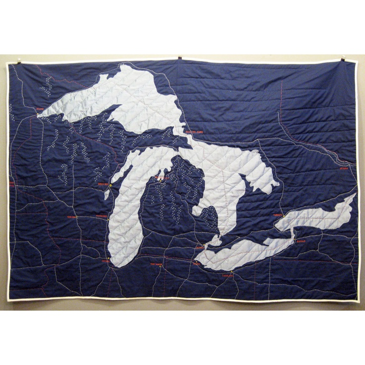 Great Lakes Quilt 52x72Ideas, Michigan, Lakes Quilt, Haptic Labs, Lakes Superior, Maps Quilt, Great Lakes, Quilt Make, Baby Quilt