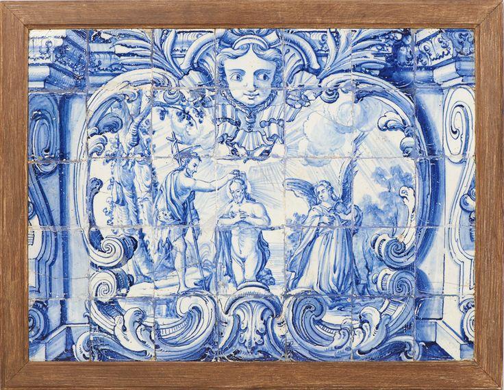 Painel composto por 35 azulejos, portugueses do séc. XVIII. Decoração em tons de azul, representando o Baptismo de Cristo por São João Baptista. Emoldurado. Defeitos. Dim. aprox.: 93,5 x 70 cm.; Dim. aprox. total: 81,5 x 105,5 cm.