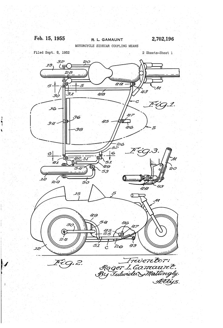 Patent US2702196 - Motorcycle sidecar coupling means - Google Patents