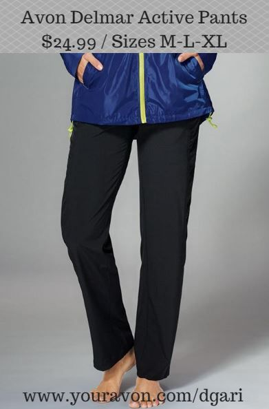 Walk, run, bike or stretch in these super-sporty pants with ruched side panels and elastic waist with drawstring. https://www.avon.com/product/delmar-active-pant-in-misses-54958?rep=dgari #sporty #pants #elastic #waist #avon #clothing