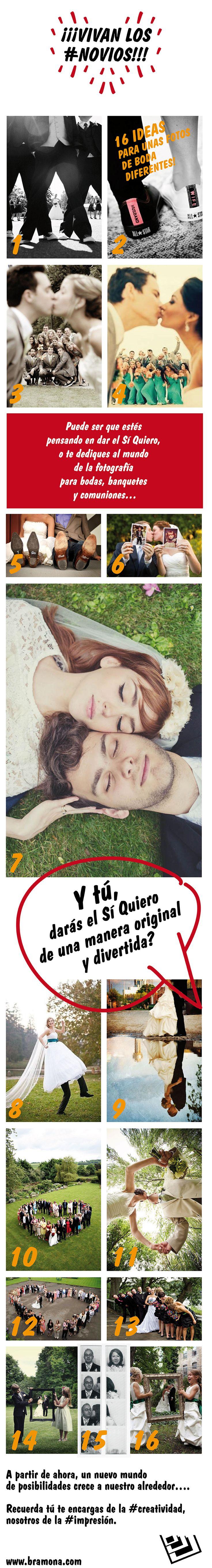 Vivan los novios!!! 16 ideas para unas fotos de boda diferentes
