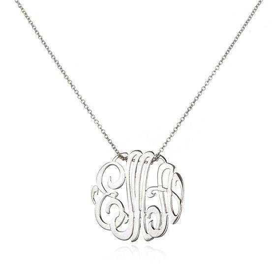 Mini Lace Monogram Necklace, White Gold - I'm stoked my initials will stay the same once married to a Rosen! I LOVE monogram way too much and would have to replace everything if not! #luckylady