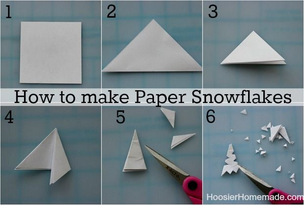 How to make Paper Snowflakes – the easy way Cut a piece of paper square – this snowflake is 3.5 x 3.5 inches Fold in half diagonally Fold a...