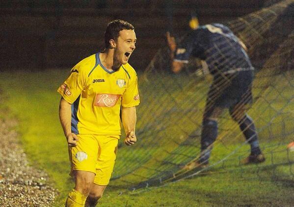 Sam Mulready scores,  King's Lynn Town v Barwell FC 1/1/14