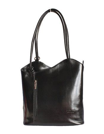 Multi-Way Black Leather Shoulder Bag/Backpack - £49.99