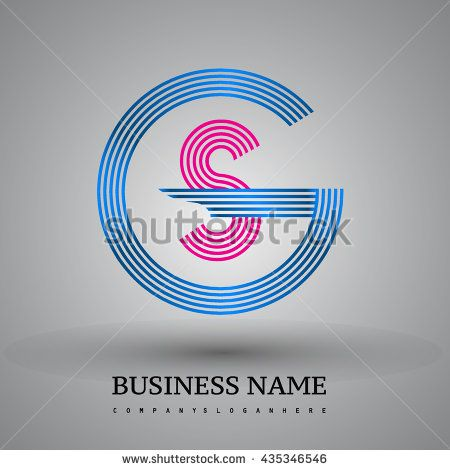 Letter GS or SG linked logo design circle G shape. Elegant blue and red colored letter symbol. Vector logo design template elements for company identity.