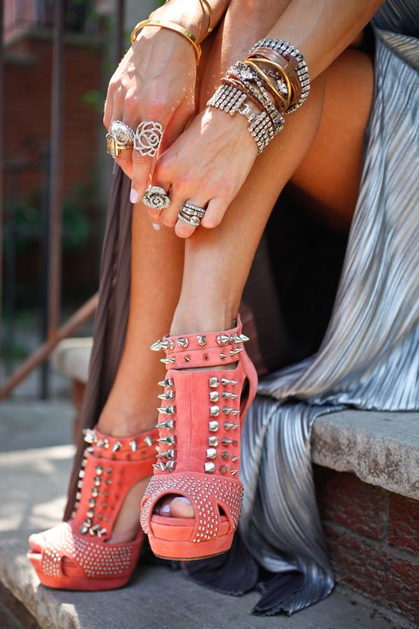 Jeffery Campbell spiked coral kicks.