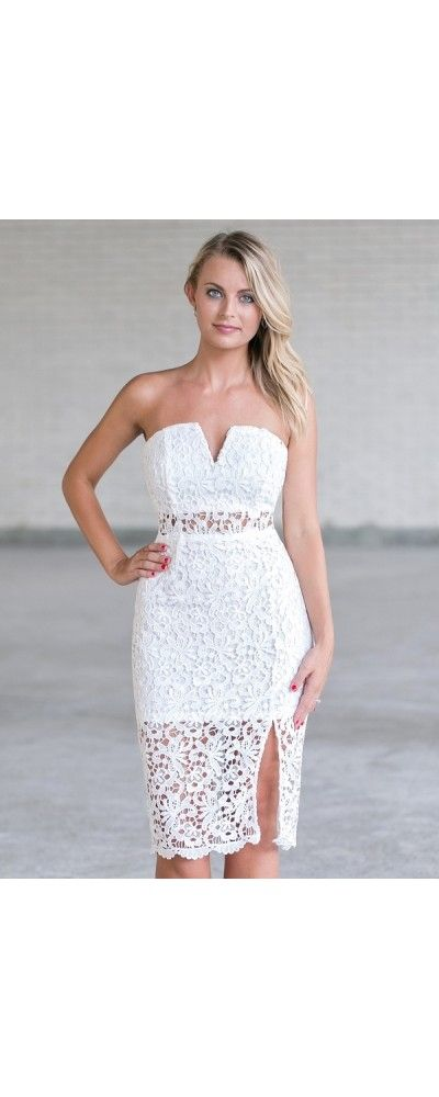 Lily Boutique Corinne Strapless Lace Midi Dress in White, $42 White Lace Strapless Dress | Cute Bachelorette Party Dress | www.lilyboutique.com