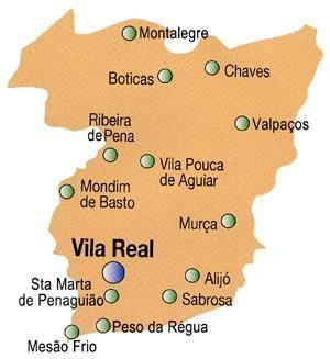 Mapa do Distrito de Vila Real, Portugal