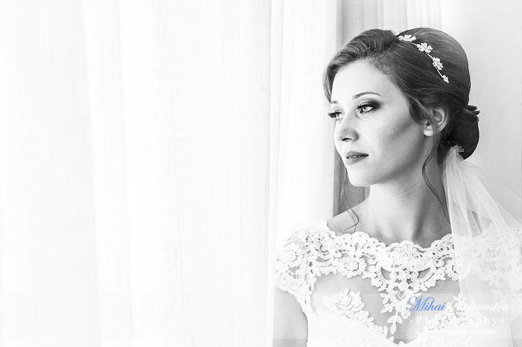 Wedding in Romania. Beautiful wedding. Beautiful bride waiting for her groom.