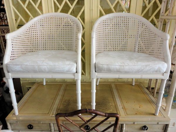 Pair Of Cane Barrel Chairs