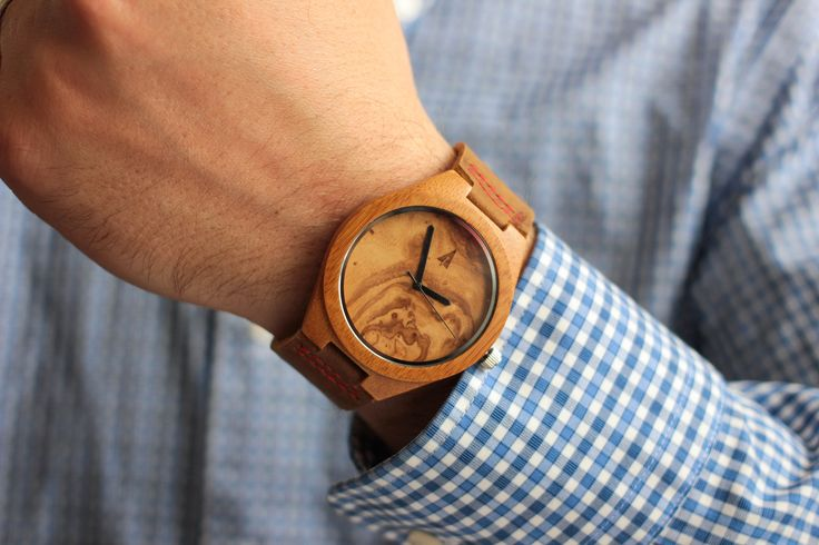 Tree Hut Bamboo Watch | This Tree Hut wooden watch is handmade in San Francisco from bamboo, beautiful figurative olive ash, and genuine leather with available engraving.