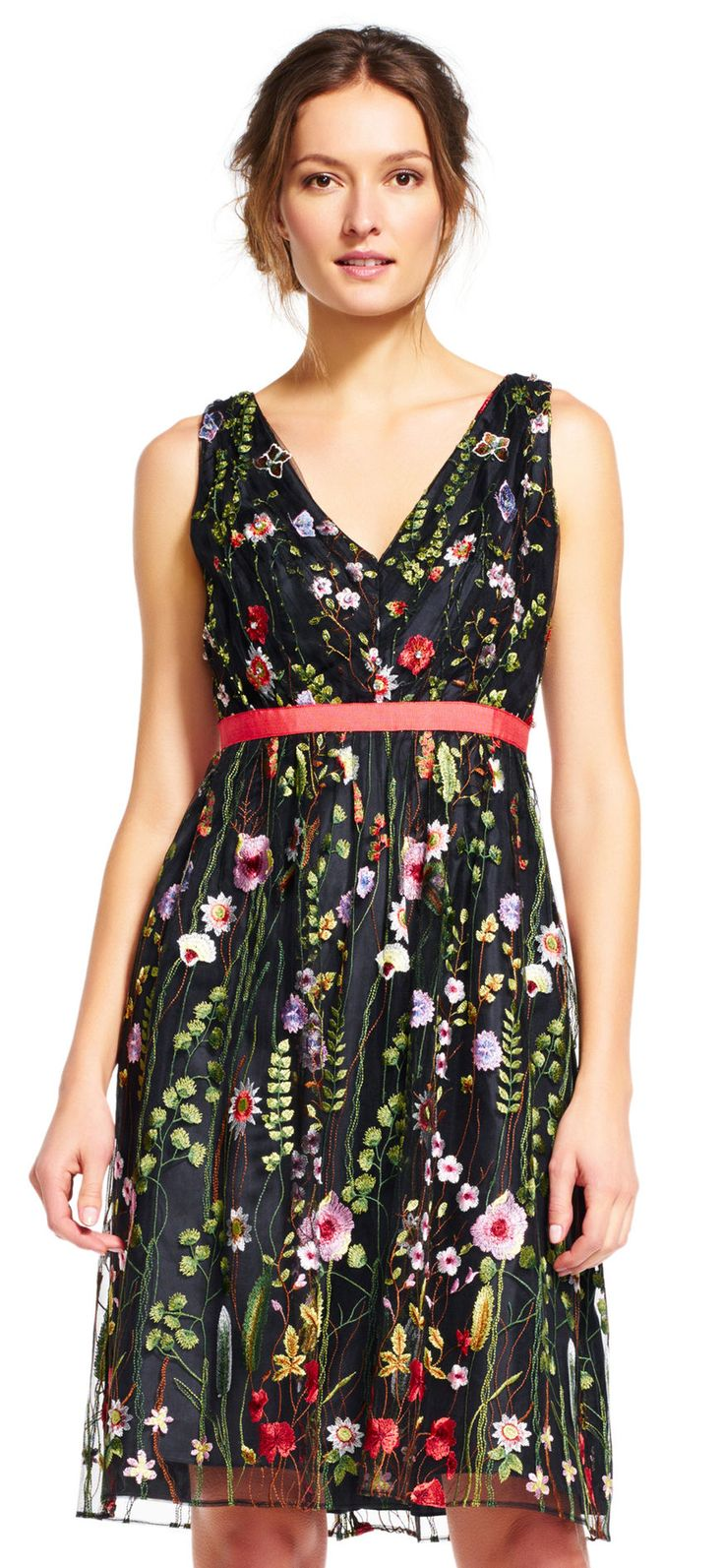 Bright floral embroidery has this dress hitting every trend this season. Featuing a v-neckline, figure-enhancing empire waist, and a sleeveless bodice, this romantic party dress will perfectly tend to your night out. Crafted from gauzy tulle, this style is simply stunning. This party dress is complete with a sparkly or neutral high heel.